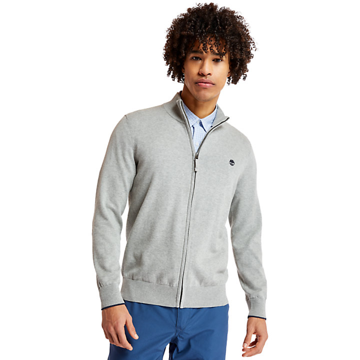 Williams River Cotton Zip Sweater for Men in Grey-