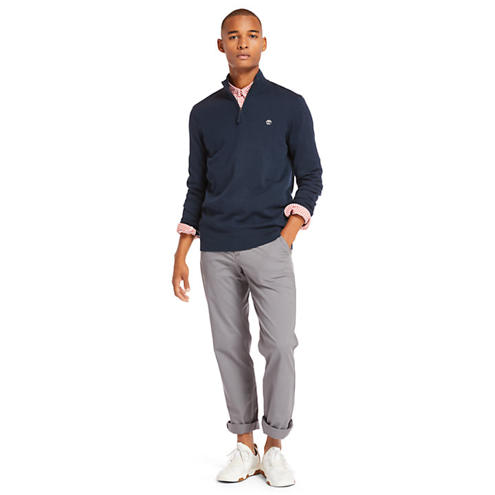 Williams River Half-Zip Sweater for Men in Navy-