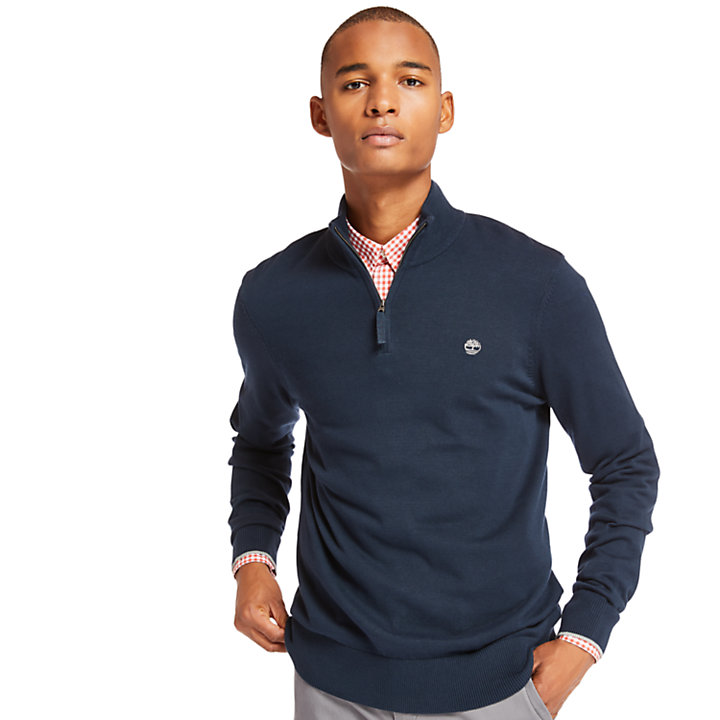 Williams River Half-Zip Sweater for Men in Navy-