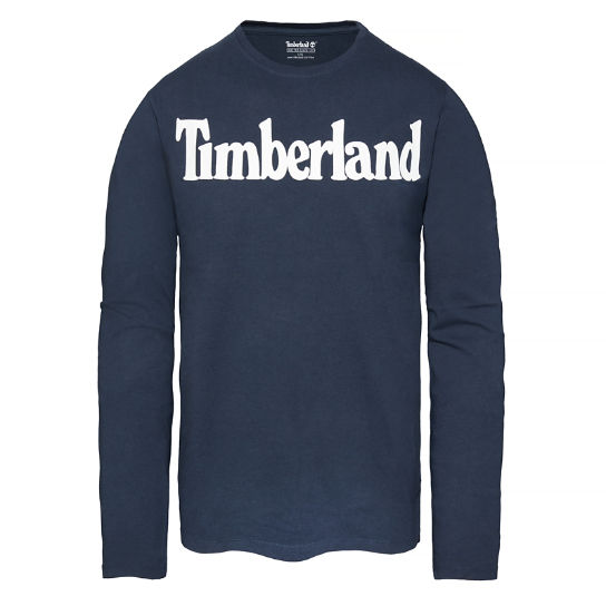 Men's  Linear Logo Print Ringer Tee Night Blue | Timberland