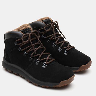 World+Hiker+Leather+Hiking+Boot+voor+Heren+in+zwart+su%C3%A8de