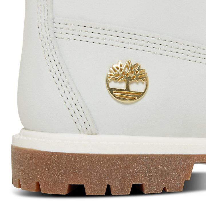 Damen 6-Inch Boot Weiß mit Monogrammen-
