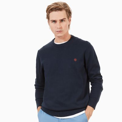 Williams+River+Cotton+Sweater+voor+Heren+in+marineblauw