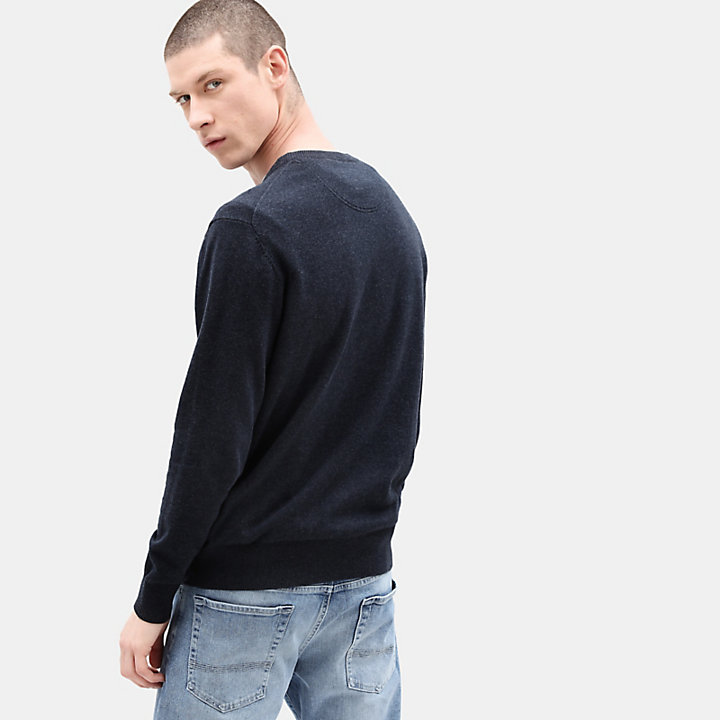 Williams River Cotton Sweater for Men in Navy-