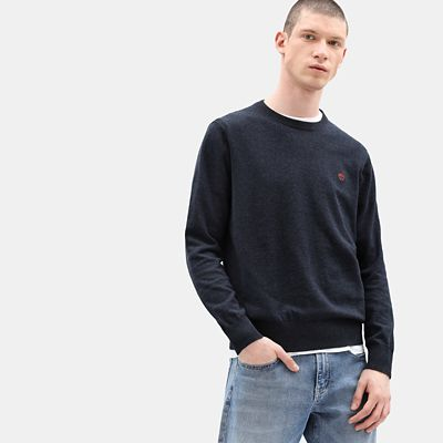 Williams+River+Cotton+Sweater+for+Men+in+Navy