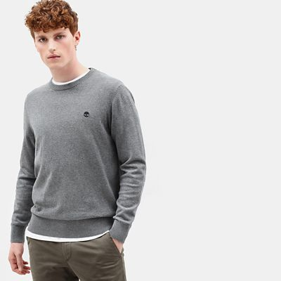 Williams+River+Cotton+Sweater+for+Men+in+Dark+Grey