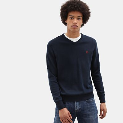 Williams+River+V+Neck+Sweater+for+Men+in+Blue