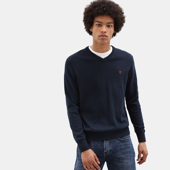 Williams River V Neck Sweater for Men in Blue | Timberland