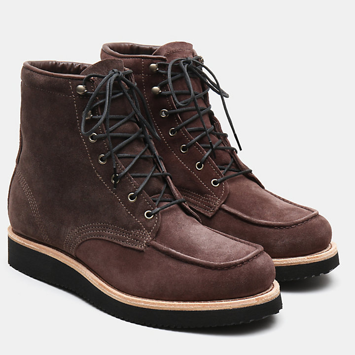 American Craft Moc Toe Boot for Men in Dark Brown-