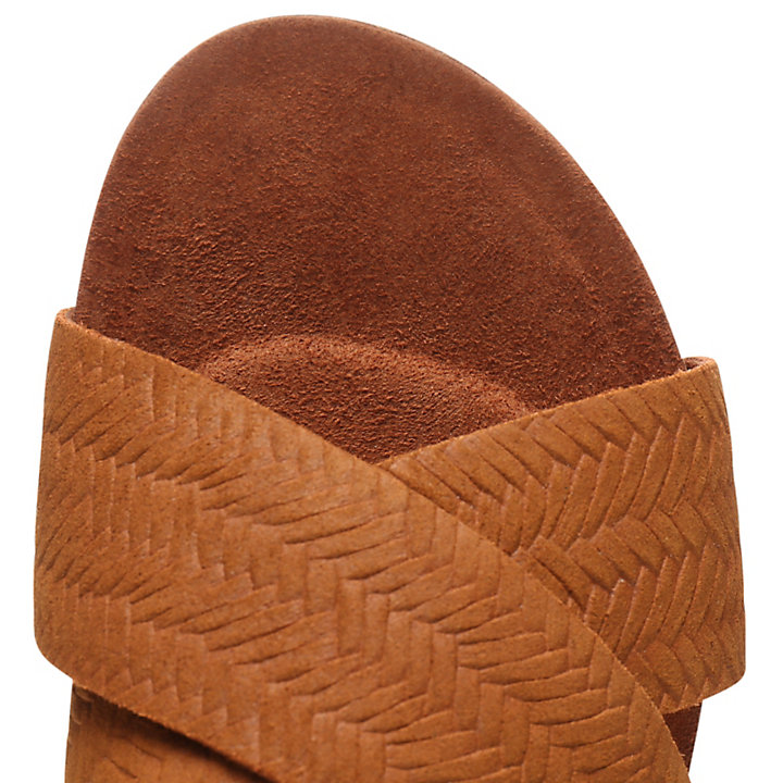 Malibu Waves Cross Slide for Women in Brown-