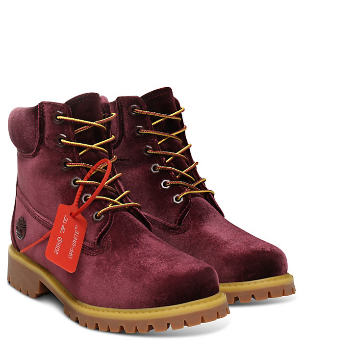 Timberland® x Off White 6 Inch Boot for Women in Burgundy-
