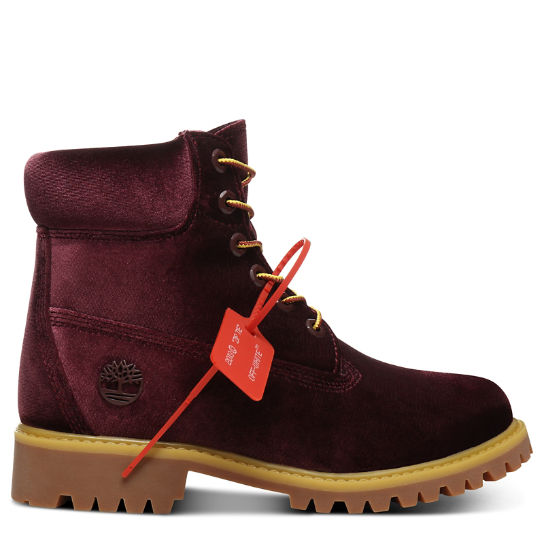 Timberland® x Off White 6 Inch Boot for Women in Burgundy | Timberland