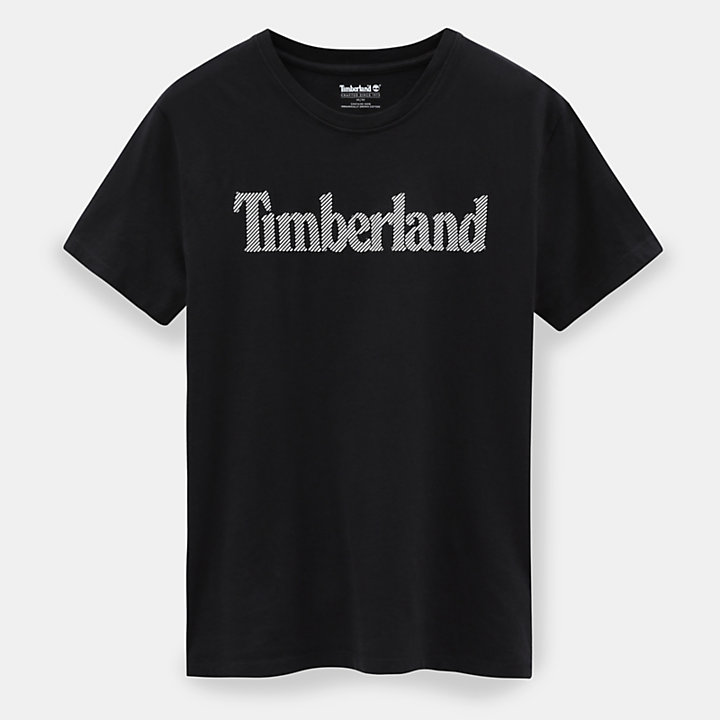 Linear Logo T-Shirt for Men in Black-