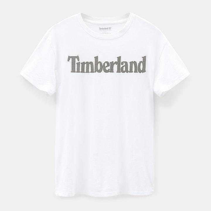 T-shirt da Uomo con Logo Lineare in bianco-