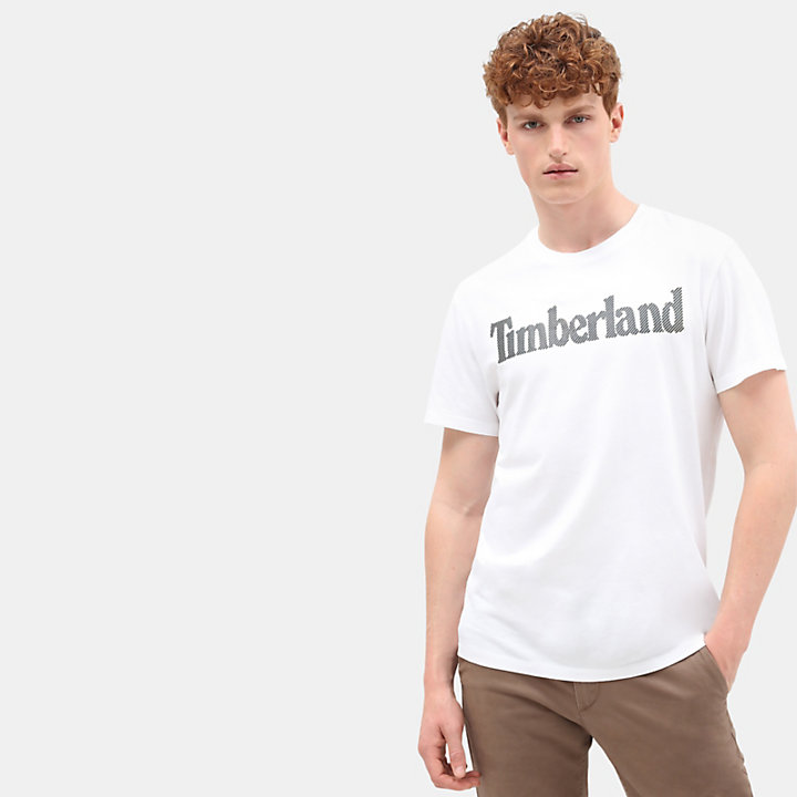 T-shirt Linear Logo pour homme en blanc-