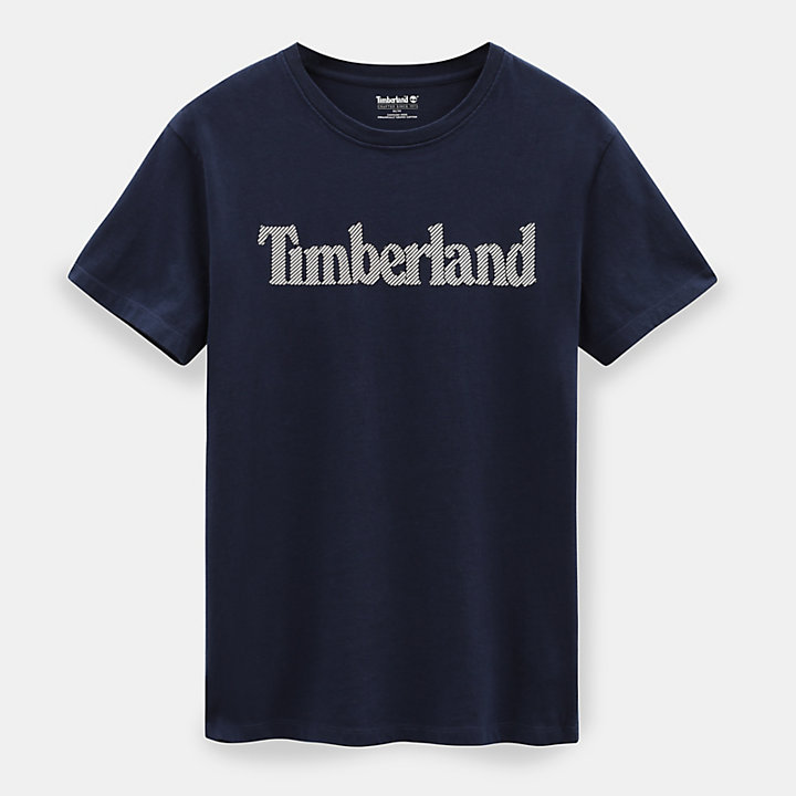 Linear Logo T-Shirt für Herren in Marineblau-