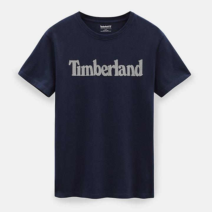 T-shirt com Logótipo Linear para Homem em azul-marinho-