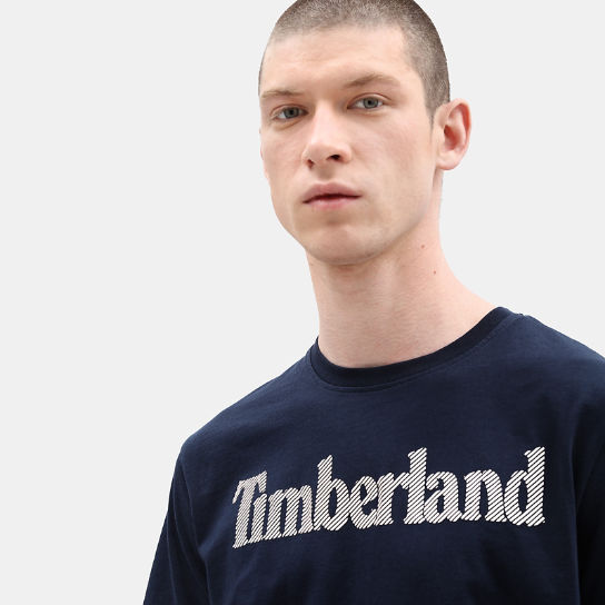 Linear Logo T-Shirt for Men in Navy | Timberland