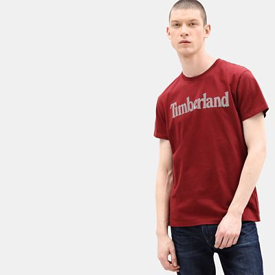 Linear+Logo+T-shirt+voor+Heren+in+Rood