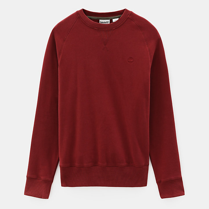 Exeter River Crew Sweatshirt for Men in Dark Red-