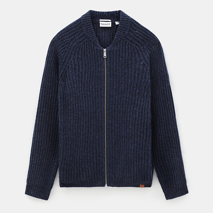 Phillips Brook Lambswool Zip Sweater for Men in Navy-