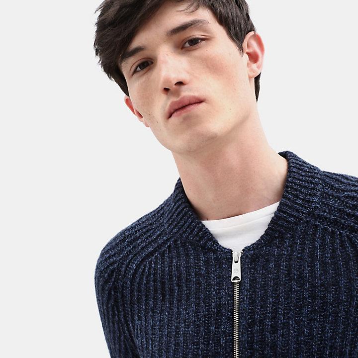 Pull zippé en laine d'agneau Phillips Brook pour homme en bleu marine-