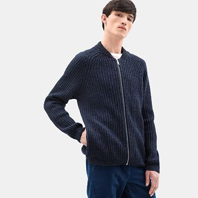 Phillips+Brook+Lambswool+Zip+Sweater+for+Men+in+Navy