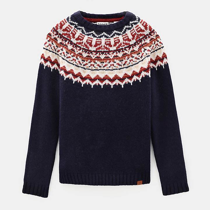 Fair Isle Wool Jumper for Men in Navy-