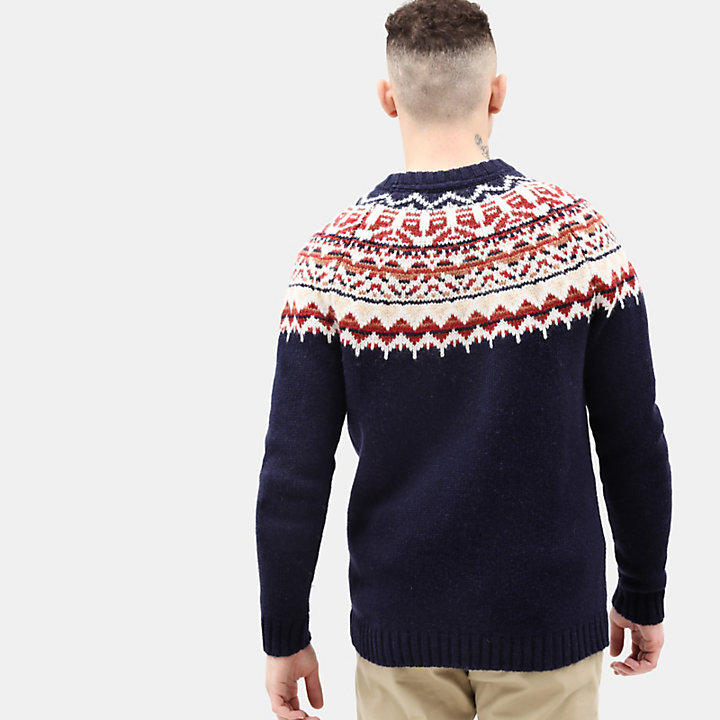 Fair Isle Wollen Trui voor Heren in marineblauw-