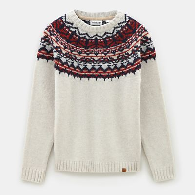 Fair+Isle+Wool+Jumper+for+Men+in+White