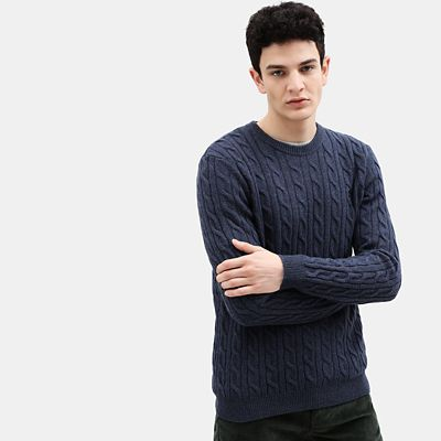 Phillips+Brook+Cable+Sweater+for+Men+in+Indigo