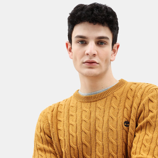 Phillips Brook Cable Sweater for Men in Yellow | Timberland