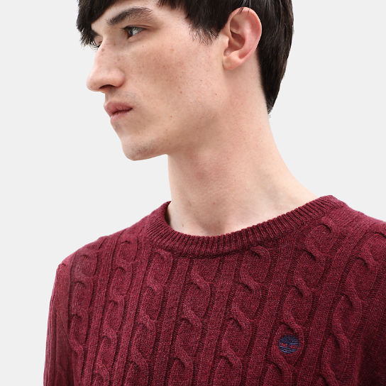Phillips Brook Cable Sweater for Men in Red | Timberland