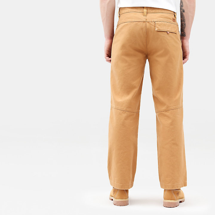 Canvas Workwear Trousers for Men in Brown-