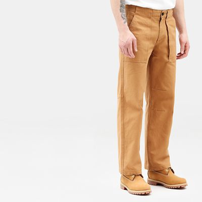 Pantaloni+Workwear+da+Uomo+in+Tela+in+marrone