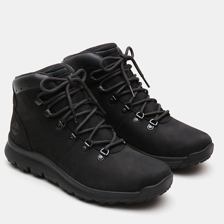 World Hiker Leather Hiking Boot for Men in Black Nubuck-