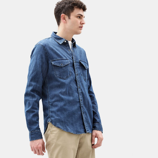 Mumford River Stretch Shirt for Men in Blue | Timberland