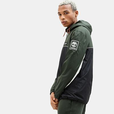 Zipped+Windbreaker+voor+Heren+in+groen%2Fzwart