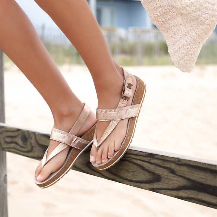 Malibu Waves Thong Sandal for Women in Rose Gold-