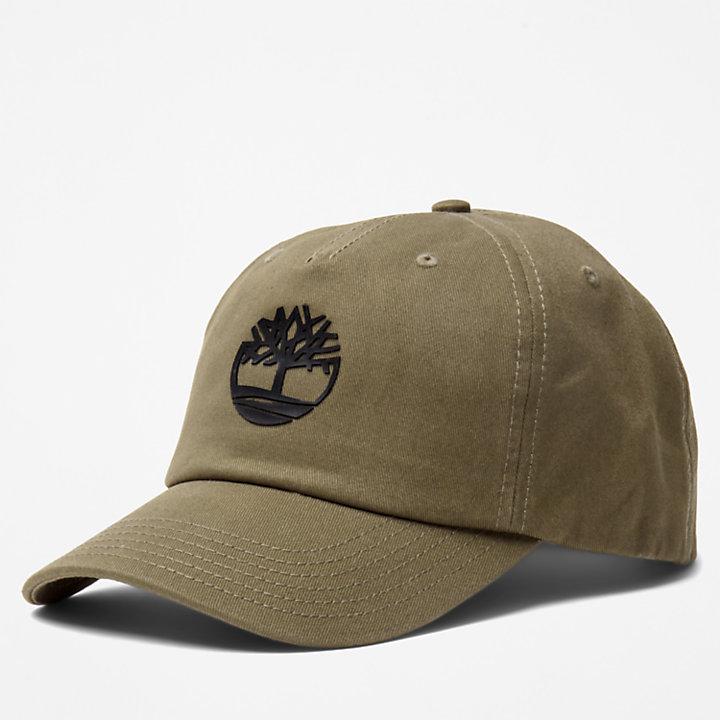 Rubberised-Logo Baseball Cap for Men in Brown-