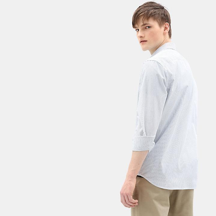 Chemise rayée Suncook River pour homme en bleu clair-