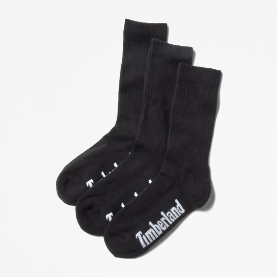 Three Pair Stratham Crew Socks for Men in Black | Timberland
