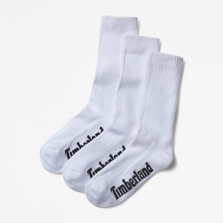 Three Pair Stratham Crew Socks for Men in White-