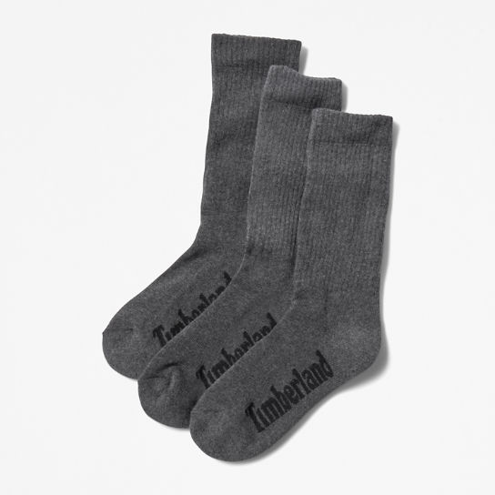 Three Pair Stratham Crew Socks for Men in Dark Grey | Timberland
