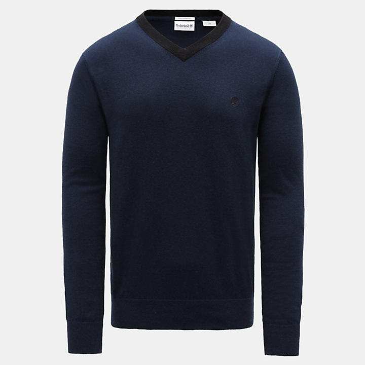 Knox River V Neck Sweater for Men in Navy-