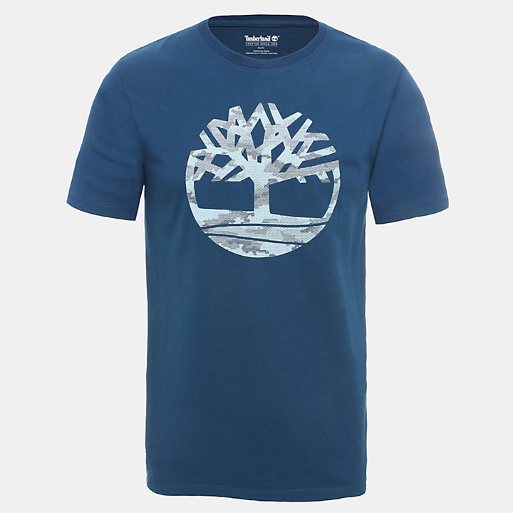 Camo Tree T-Shirt for Men in Teal-