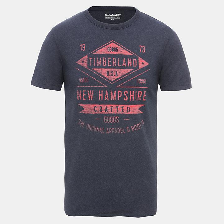 Camiseta de Inspiración Retro para Hombre en azul marino-