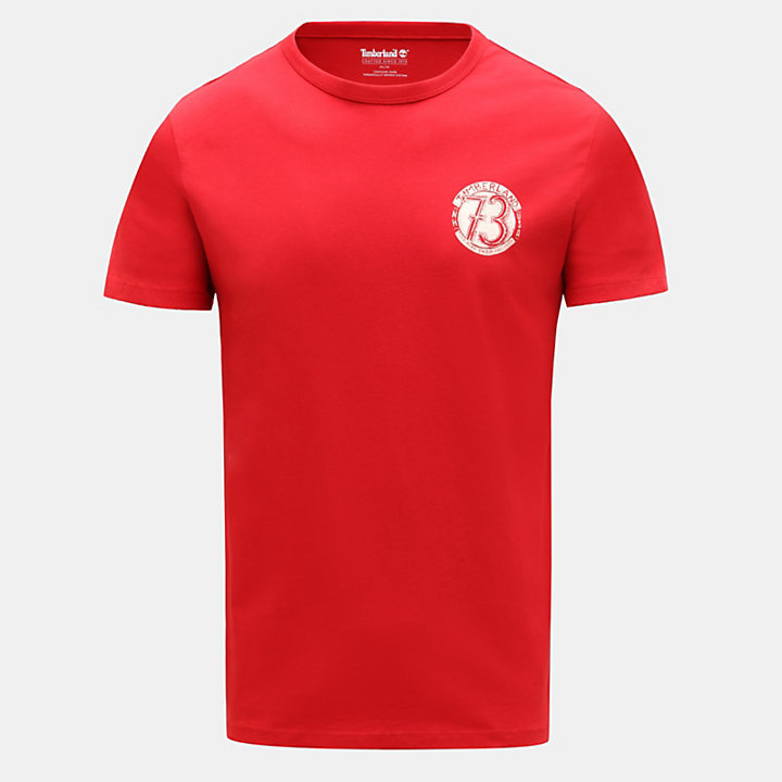 Camiseta con Estampado Gráfico en la Espalda para Hombre en rojo-