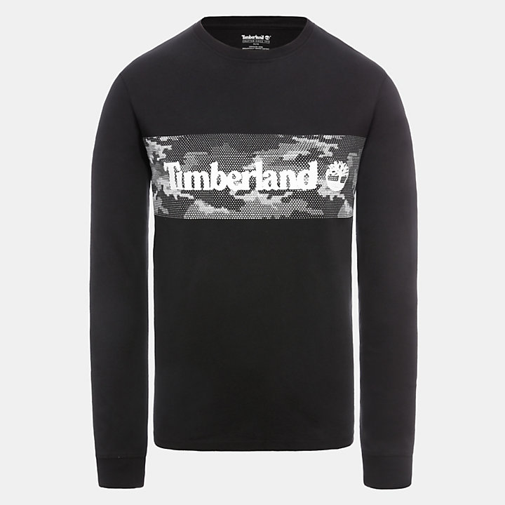 Camiseta con Estampado Gráfico LS para Hombre en color negro-