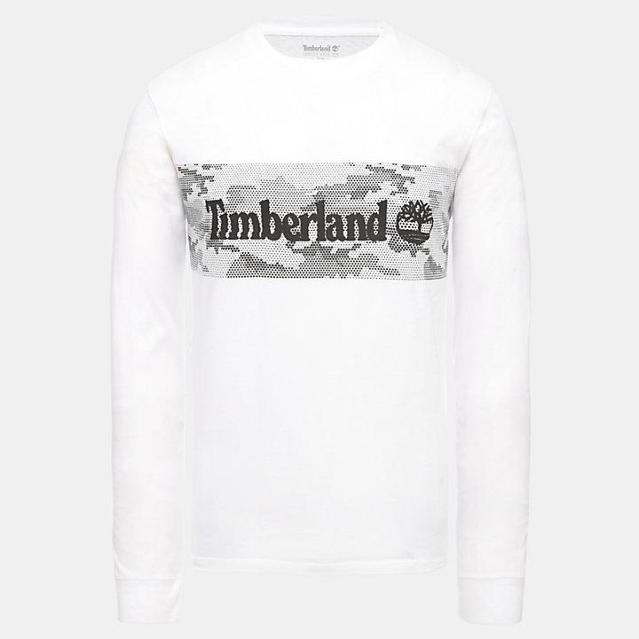 Camiseta con Estampado Gráfico LS para Hombre en blanco-